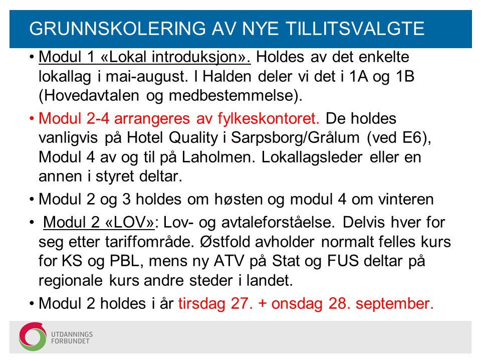GRUNNSKOLERING AV NYE TILLITSVALGTE Modul 1 «Lokal introduksjon».