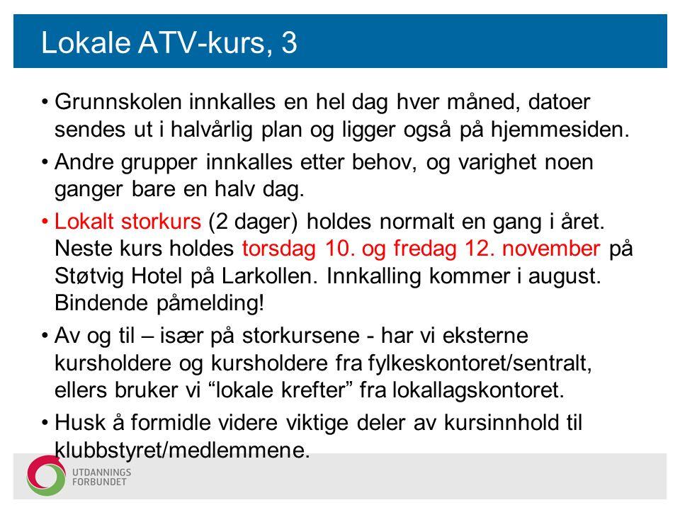 Lokale ATV-kurs, 3 Grunnskolen innkalles en hel dag hver måned, datoer sendes ut i halvårlig plan og ligger også på hjemmesiden.