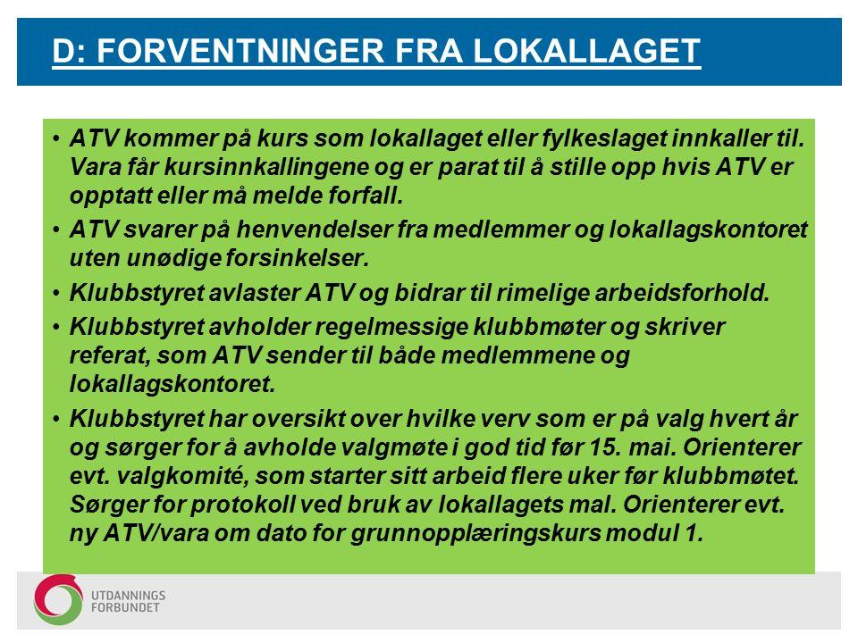 D: FORVENTNINGER FRA LOKALLAGET ATV kommer på kurs som lokallaget eller fylkeslaget innkaller til.
