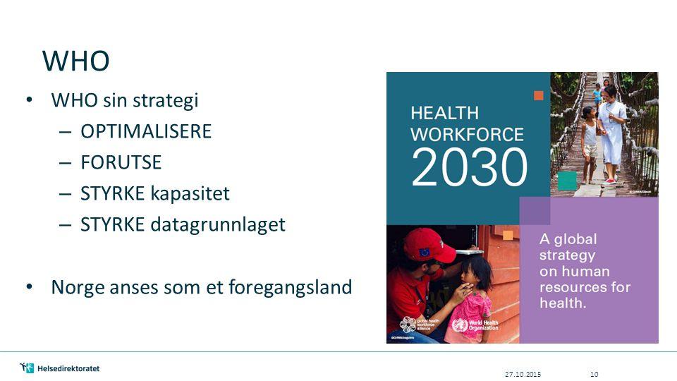 WHO 27.10.201510 WHO sin strategi – OPTIMALISERE – FORUTSE – STYRKE kapasitet – STYRKE datagrunnlaget Norge anses som et foregangsland