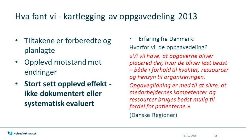 Hva fant vi - kartlegging av oppgavedeling 2013 27.10.201513 Tiltakene er forberedte og planlagte Opplevd motstand mot endringer Stort sett opplevd effekt - ikke dokumentert eller systematisk evaluert Erfaring fra Danmark: Hvorfor vil de oppgavedeling.