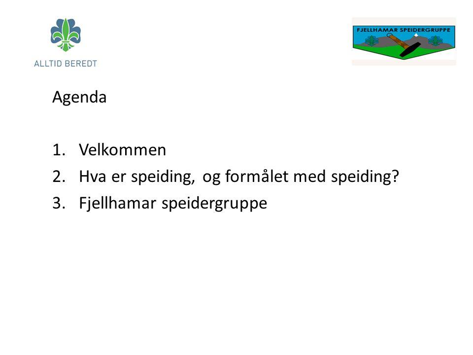 Agenda 1.Velkommen 2.Hva er speiding, og formålet med speiding? 3.Fjellhamar speidergruppe