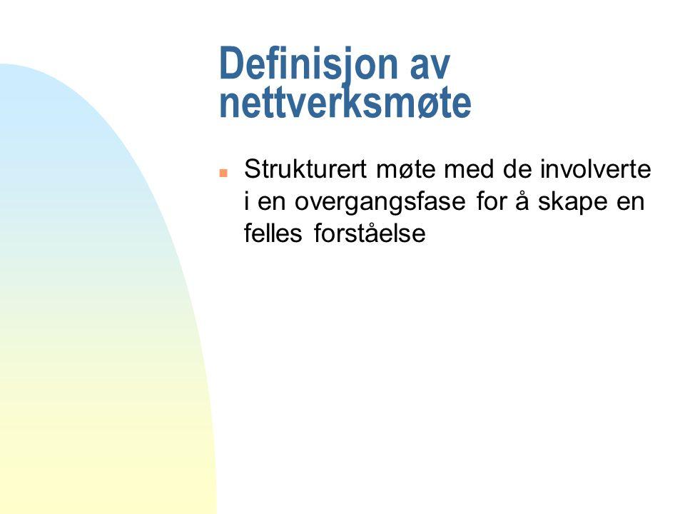 Definisjon av nettverksmøte n Strukturert møte med de involverte i en overgangsfase for å skape en felles forståelse