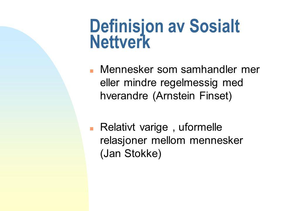 Definisjon av Sosialt Nettverk n Mennesker som samhandler mer eller mindre regelmessig med hverandre (Arnstein Finset) n Relativt varige, uformelle relasjoner mellom mennesker (Jan Stokke)