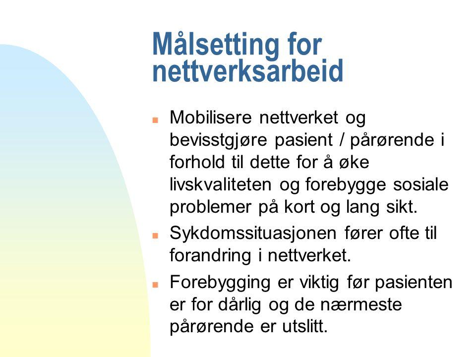 Målsetting for nettverksarbeid n Mobilisere nettverket og bevisstgjøre pasient / pårørende i forhold til dette for å øke livskvaliteten og forebygge sosiale problemer på kort og lang sikt.