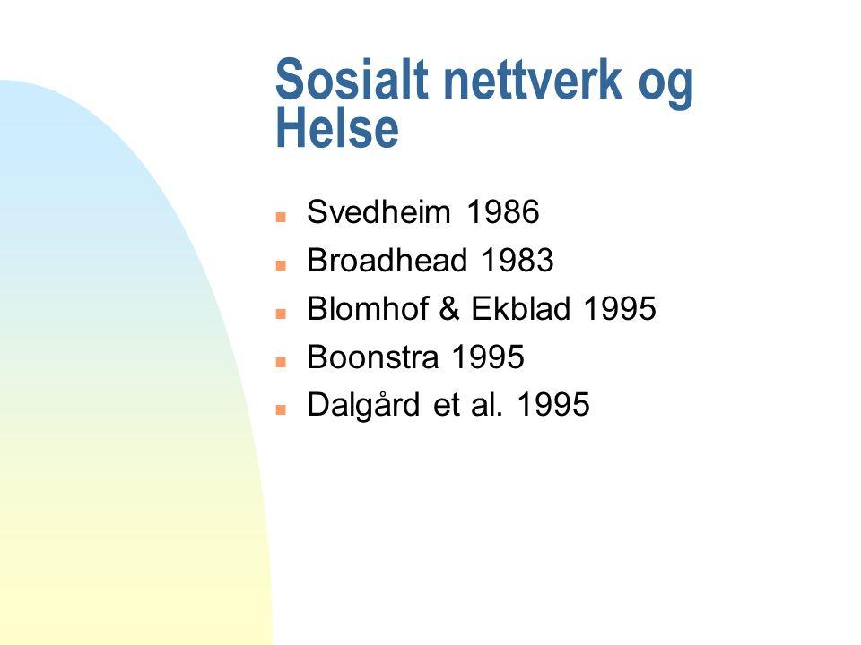 Sosialt nettverk og Helse n Svedheim 1986 n Broadhead 1983 n Blomhof & Ekblad 1995 n Boonstra 1995 n Dalgård et al.