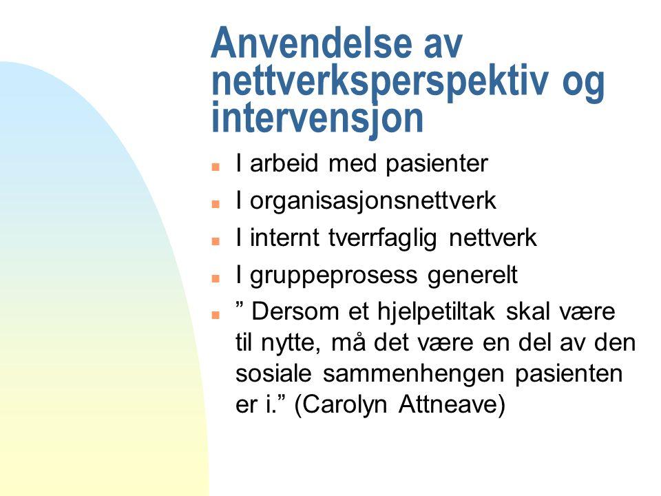 Anvendelse av nettverksperspektiv og intervensjon n I arbeid med pasienter n I organisasjonsnettverk n I internt tverrfaglig nettverk n I gruppeprosess generelt n Dersom et hjelpetiltak skal være til nytte, må det være en del av den sosiale sammenhengen pasienten er i. (Carolyn Attneave)