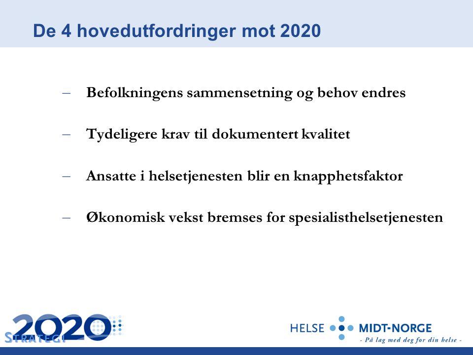 De 4 hovedutfordringer mot 2020 – Befolkningens sammensetning og behov endres – Tydeligere krav til dokumentert kvalitet – Ansatte i helsetjenesten blir en knapphetsfaktor – Økonomisk vekst bremses for spesialisthelsetjenesten
