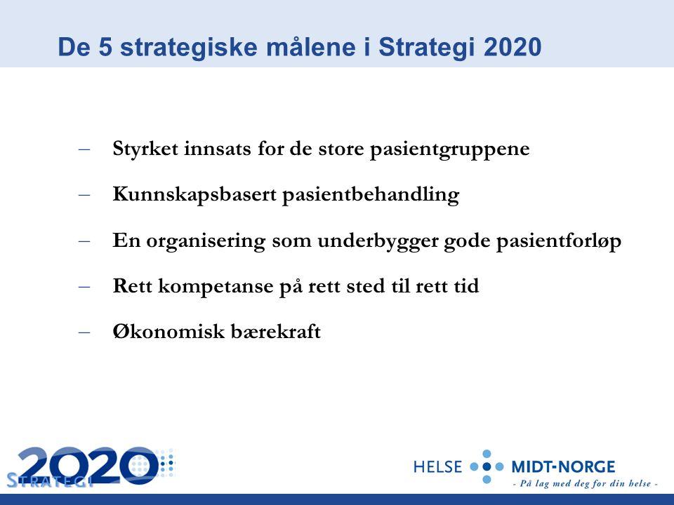De 5 strategiske målene i Strategi 2020 – Styrket innsats for de store pasientgruppene – Kunnskapsbasert pasientbehandling – En organisering som underbygger gode pasientforløp – Rett kompetanse på rett sted til rett tid – Økonomisk bærekraft