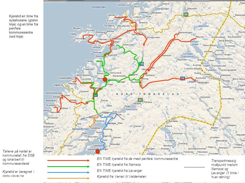 Tallene på kartet er kommunetall fra SSB og lokalisert til kommunesenteret Kjøretid er beregnet i www.visvei.no 305 EN TIME kjøretid fra de mest perifere kommunesentre EN TIME kjøretid fra Namsos EN TIME kjøretid fra Levanger Kjøretid fra Verran til Veldemelen Transportmessig midtpunkt mellom Namsos og Levanger (1 time i hver retning) Kjøretid en time fra sykehusene (grønn linje) og en time fra perifere kommunesentre (rød linje)