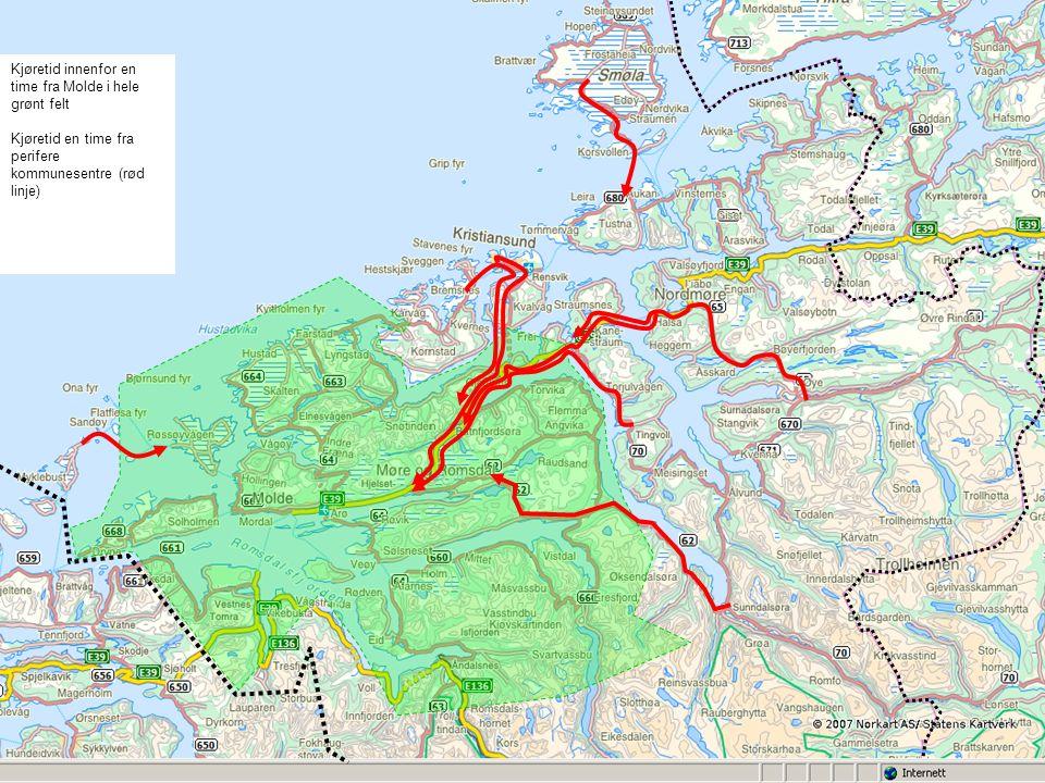 Kjøretid innenfor en time fra Molde i hele grønt felt Kjøretid en time fra perifere kommunesentre (rød linje)