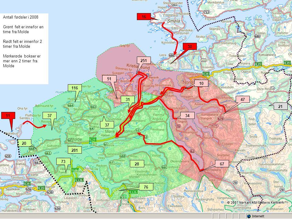 281 251 73 76 28 20 1137 116 37 51 31 34 47 67 21 16 30 Antall fødsler i 2008 Grønt felt er innefor en time fra Molde Rødt felt er innenfor 2 timer fra Molde Mørkerøde bokser er mer enn 2 timer fra Molde 10