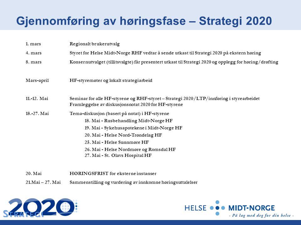 Gjennomføring av høringsfase – Strategi 2020 1. marsRegionalt brukerutvalg 4.