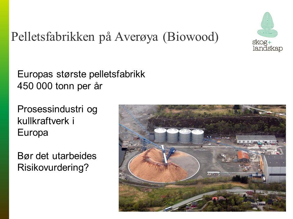 Pelletsfabrikken på Averøya (Biowood) Europas største pelletsfabrikk 450 000 tonn per år Prosessindustri og kullkraftverk i Europa Bør det utarbeides Risikovurdering