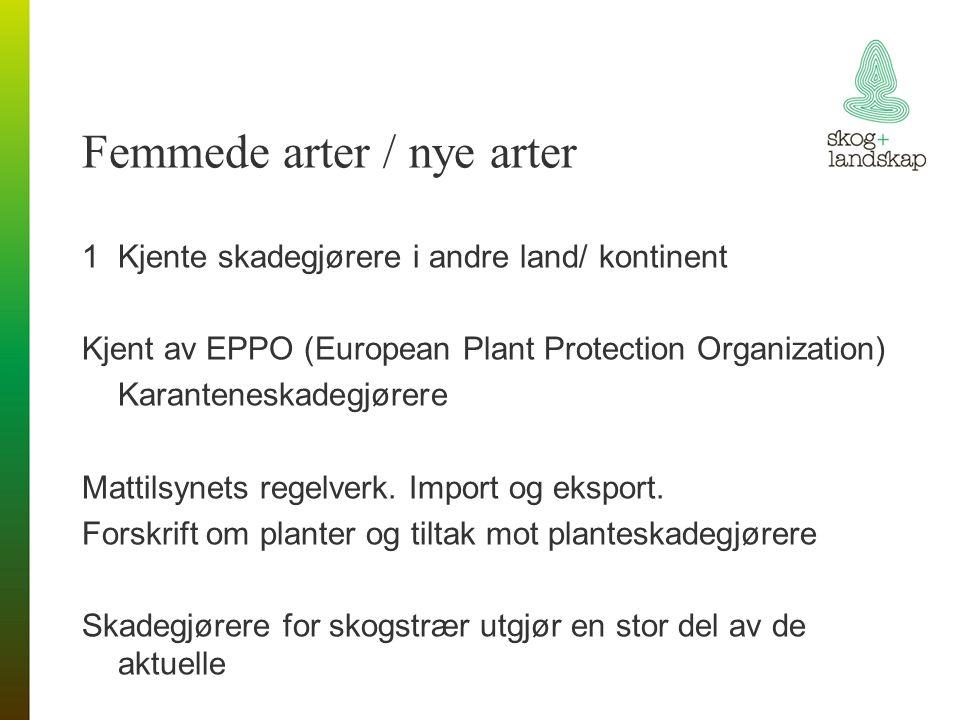 Femmede arter / nye arter 1Kjente skadegjørere i andre land/ kontinent Kjent av EPPO (European Plant Protection Organization) Karanteneskadegjørere Mattilsynets regelverk.