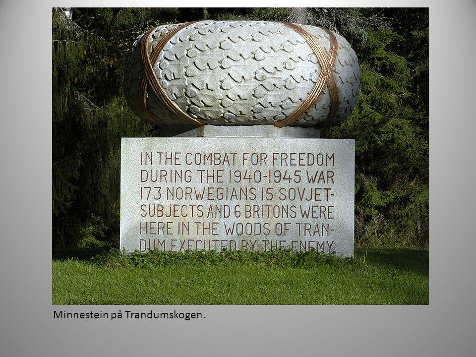 Minnestein på Trandumskogen.