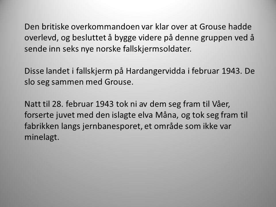 Den britiske overkommandoen var klar over at Grouse hadde overlevd, og besluttet å bygge videre på denne gruppen ved å sende inn seks nye norske fallskjermsoldater.