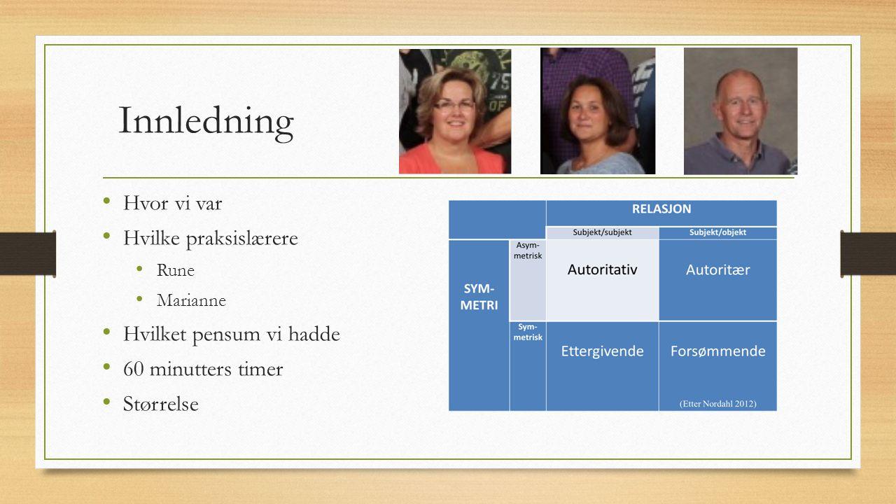 Innledning Hvor vi var Hvilke praksislærere Rune Marianne Hvilket pensum vi hadde 60 minutters timer Størrelse