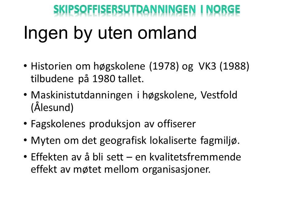 Ingen by uten omland Historien om høgskolene (1978) og VK3 (1988) tilbudene på 1980 tallet.