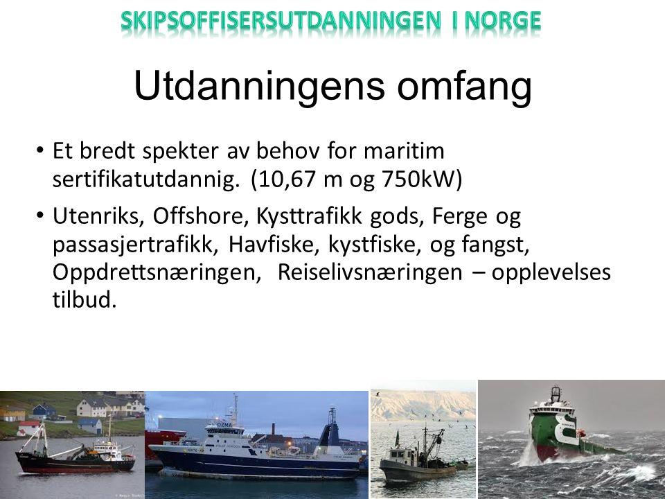 Utdanningens omfang Et bredt spekter av behov for maritim sertifikatutdannig.