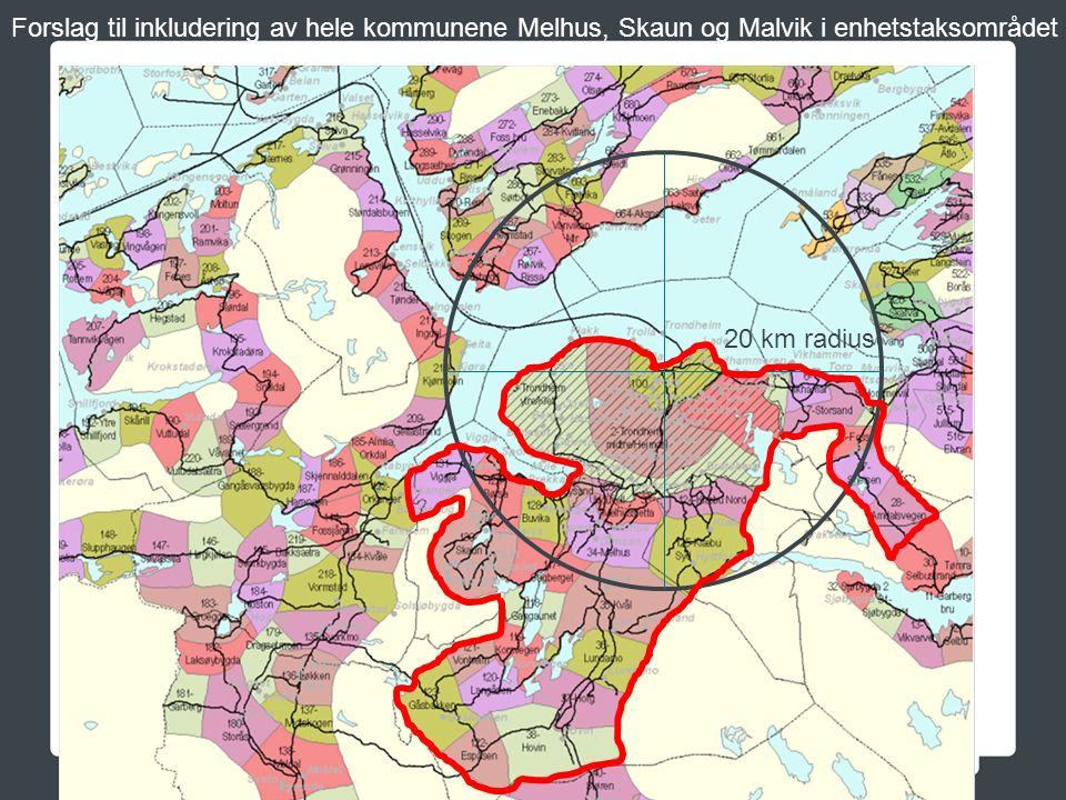 Forslag til inkludering av hele kommunene Melhus, Skaun og Malvik i enhetstaksområdet 20 km radius