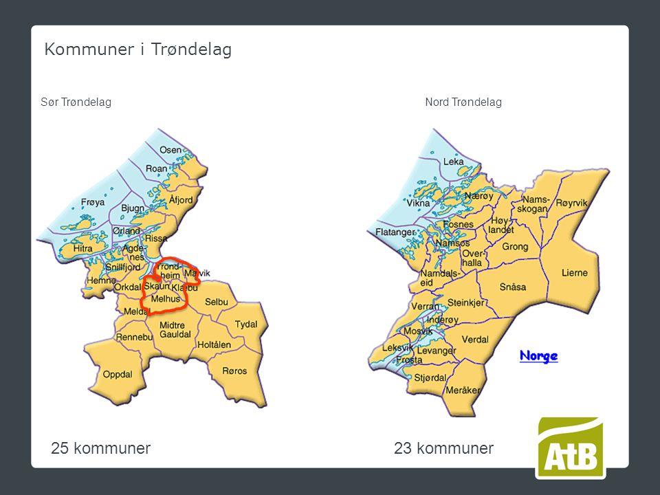 Kommuner i Trøndelag 25 kommuner23 kommuner Sør TrøndelagNord Trøndelag