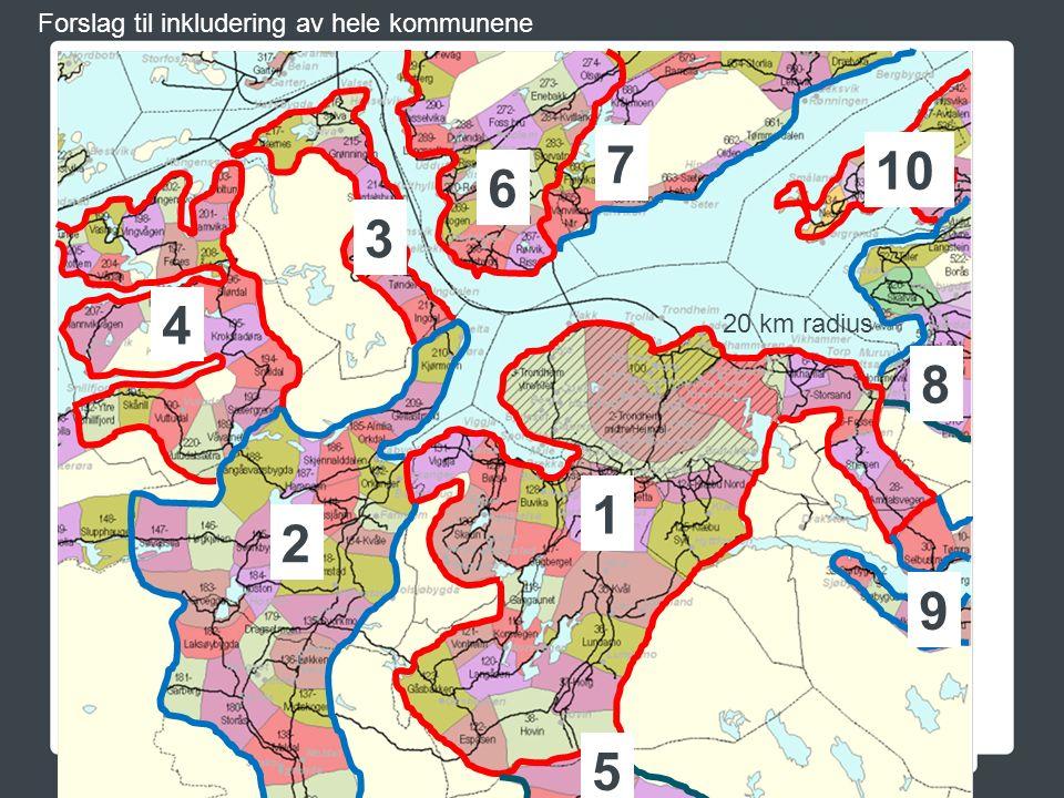 Forslag til inkludering av hele kommunene 20 km radius 1 2 3 4 5 6 7 8 9 10