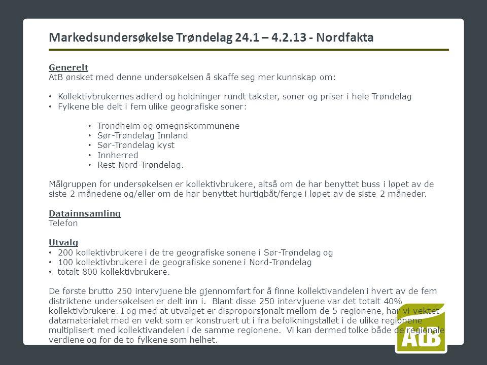 Generelt AtB ønsket med denne undersøkelsen å skaffe seg mer kunnskap om: Kollektivbrukernes adferd og holdninger rundt takster, soner og priser i hele Trøndelag Fylkene ble delt i fem ulike geografiske soner: Trondheim og omegnskommunene Sør-Trøndelag Innland Sør-Trøndelag kyst Innherred Rest Nord-Trøndelag.