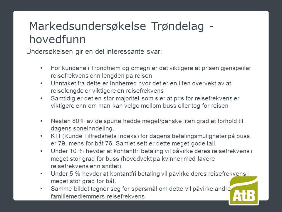 Markedsundersøkelse Trøndelag - hovedfunn Undersøkelsen gir en del interessante svar: For kundene i Trondheim og omegn er det viktigere at prisen gjenspeiler reisefrekvens enn lengden på reisen Unntaket fra dette er Innherred hvor det er en liten overvekt av at reiselengde er viktigere en reisefrekvens Samtidig er det en stor majoritet som sier at pris for reisefrekvens er viktigere enn om man kan velge mellom buss eller tog for reisen Nesten 80% av de spurte hadde meget/ganske liten grad et forhold til dagens soneinndeling.
