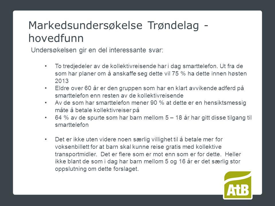 Markedsundersøkelse Trøndelag - hovedfunn Undersøkelsen gir en del interessante svar: To tredjedeler av de kollektivreisende har i dag smarttelefon.