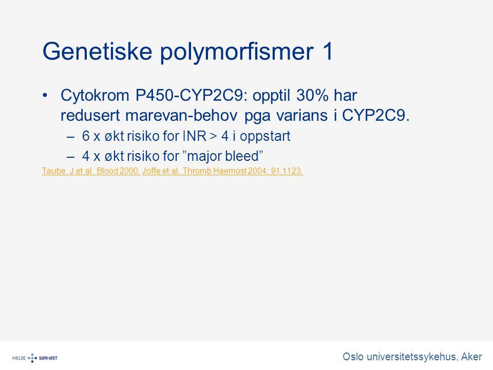 Oslo universitetssykehus, Aker Genetiske polymorfismer 1 Cytokrom P450-CYP2C9: opptil 30% har redusert marevan-behov pga varians i CYP2C9.