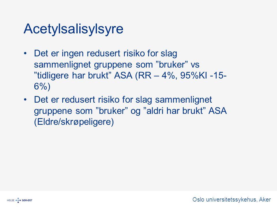 Acetylsalisylsyre Det er ingen redusert risiko for slag sammenlignet gruppene som bruker vs tidligere har brukt ASA (RR – 4%, 95%KI -15- 6%) Det er redusert risiko for slag sammenlignet gruppene som bruker og aldri har brukt ASA (Eldre/skrøpeligere)