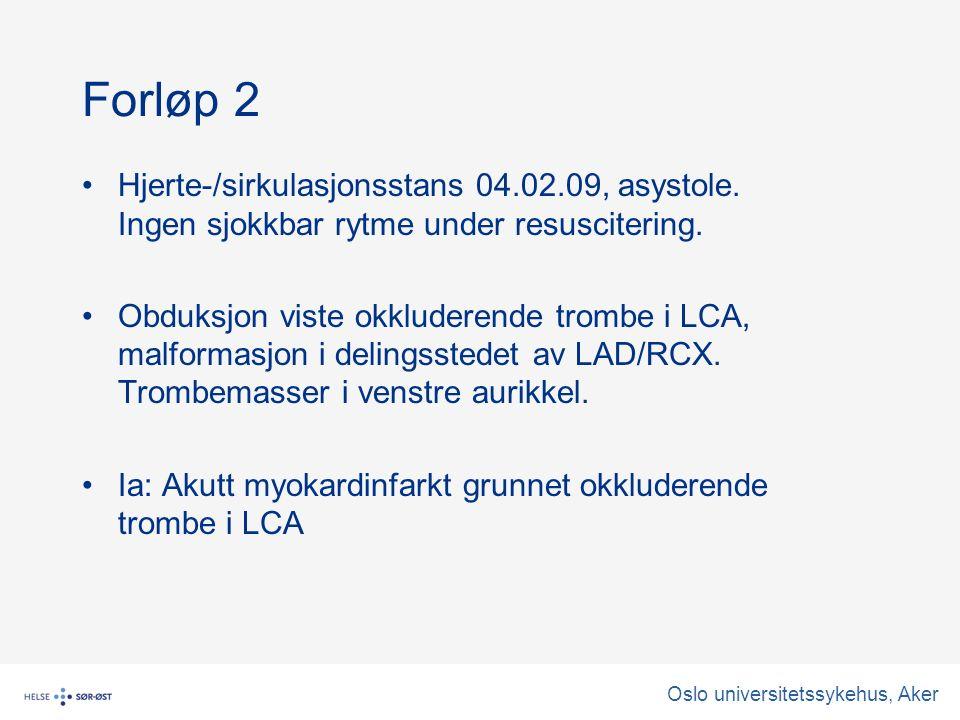 Oslo universitetssykehus, Aker Forløp 2 Hjerte-/sirkulasjonsstans 04.02.09, asystole.