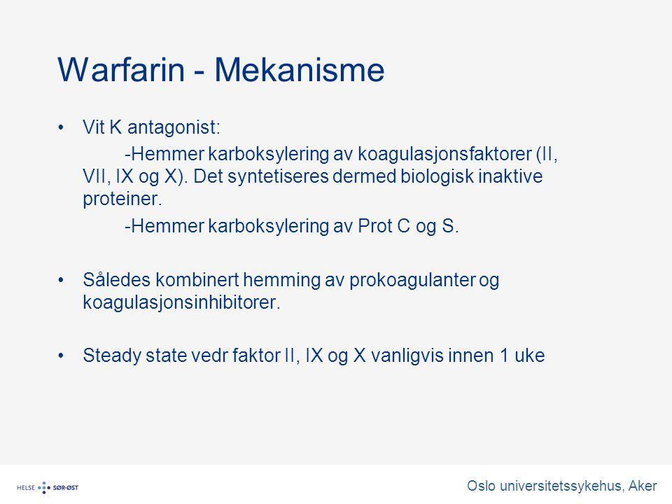 Warfarin - Mekanisme Vit K antagonist: -Hemmer karboksylering av koagulasjonsfaktorer (II, VII, IX og X).