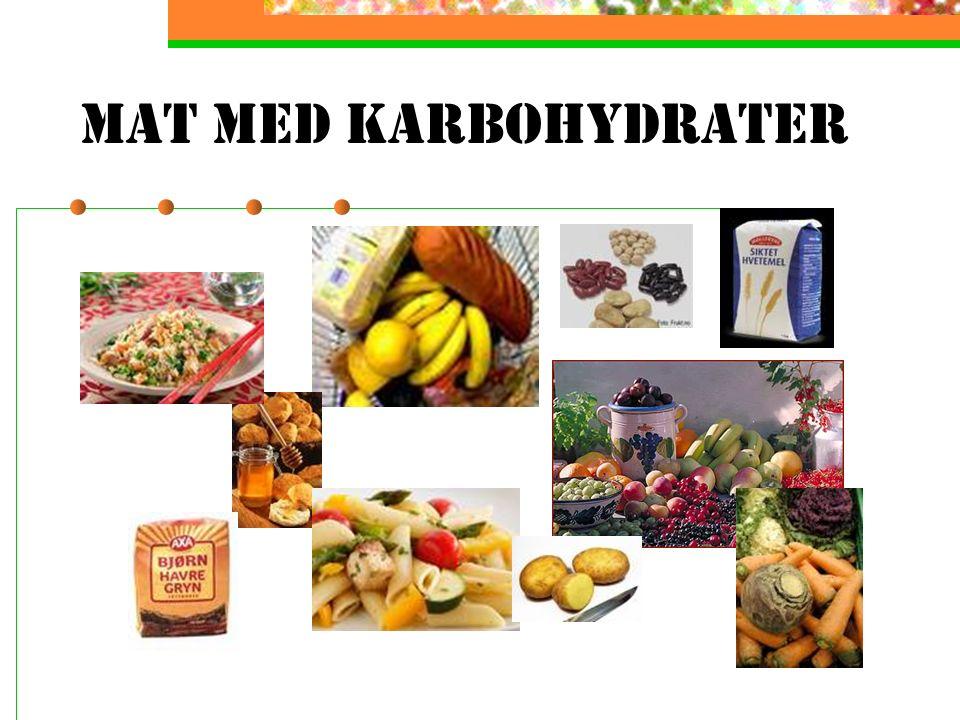 Karbohydrater gir energi Karbohydrater finnes først og fremst i mat fra planterriket. Man deler gjerne inn karbohydratene i tre hovedgrupper etter hvo