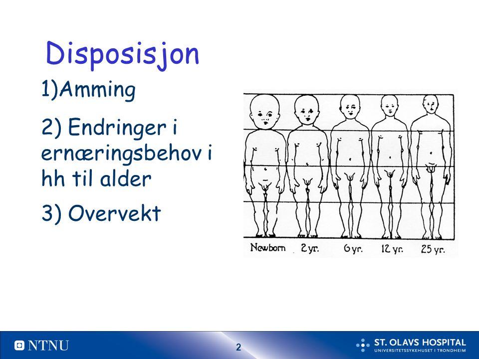 2 Disposisjon 1)Amming 2) Endringer i ernæringsbehov i hh til alder 3) Overvekt