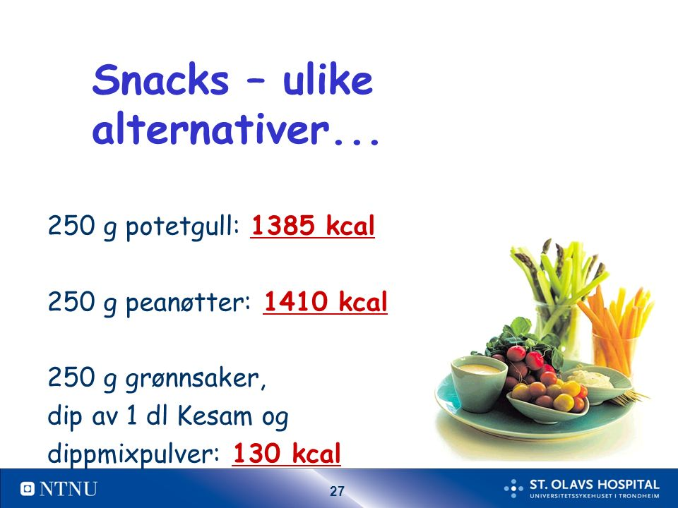 27 Snacks – ulike alternativer...