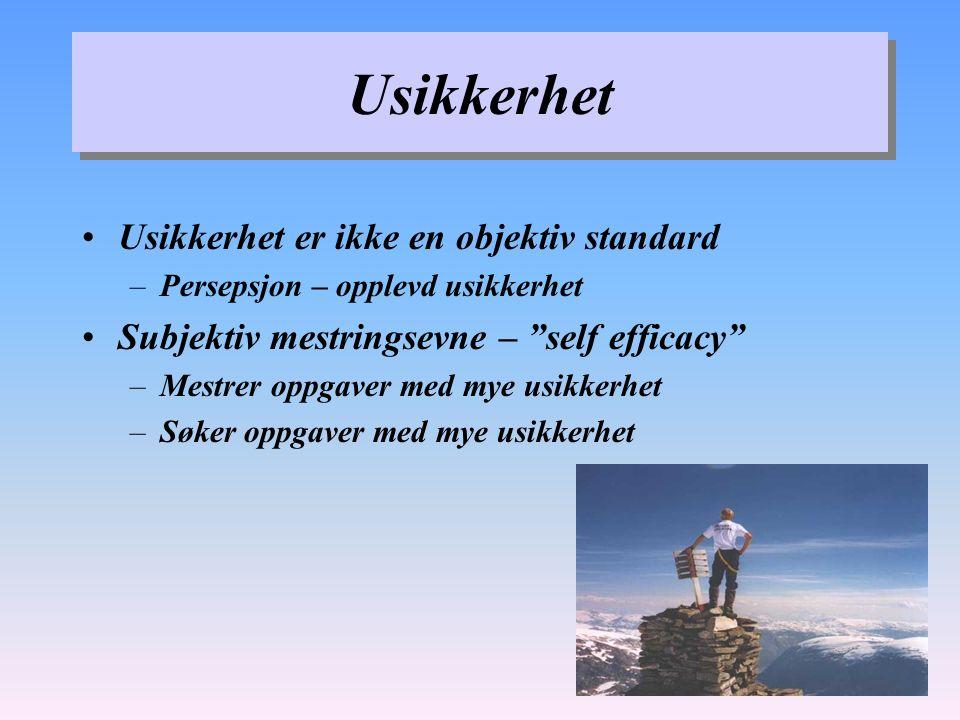 Usikkerhet Usikkerhet er ikke en objektiv standard –Persepsjon – opplevd usikkerhet Subjektiv mestringsevne – self efficacy –Mestrer oppgaver med mye usikkerhet –Søker oppgaver med mye usikkerhet
