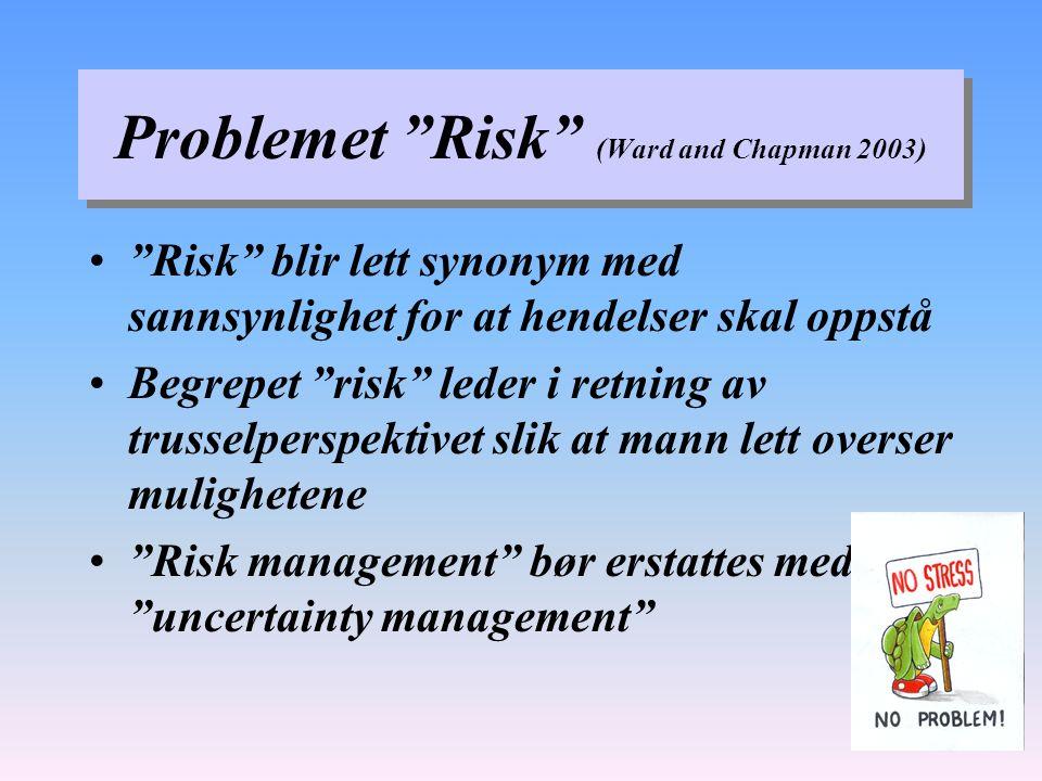 Problemet Risk (Ward and Chapman 2003) Risk blir lett synonym med sannsynlighet for at hendelser skal oppstå Begrepet risk leder i retning av trusselperspektivet slik at mann lett overser mulighetene Risk management bør erstattes med uncertainty management