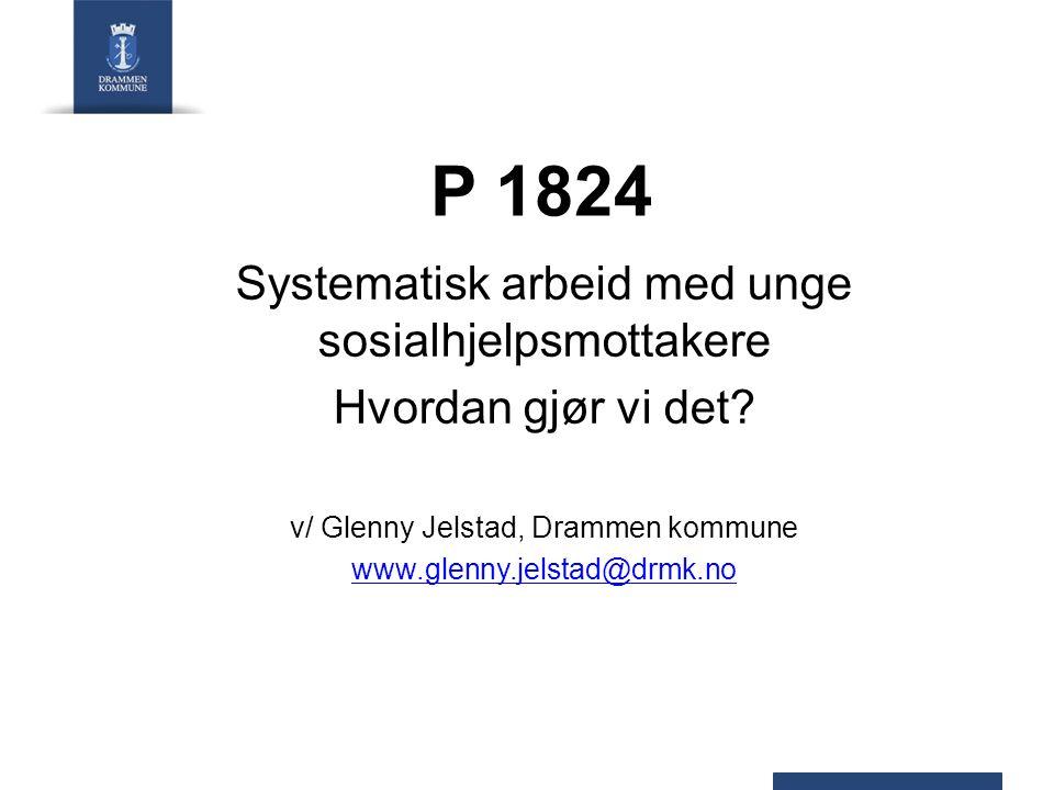 P 1824 – mål og strategier HOVEDMÅL  Redusere antall mottakere av økonomisk sosialhjelp i aldersgruppen 18 til 24 år med 50 % eller 214 personer innen 31.12.09.