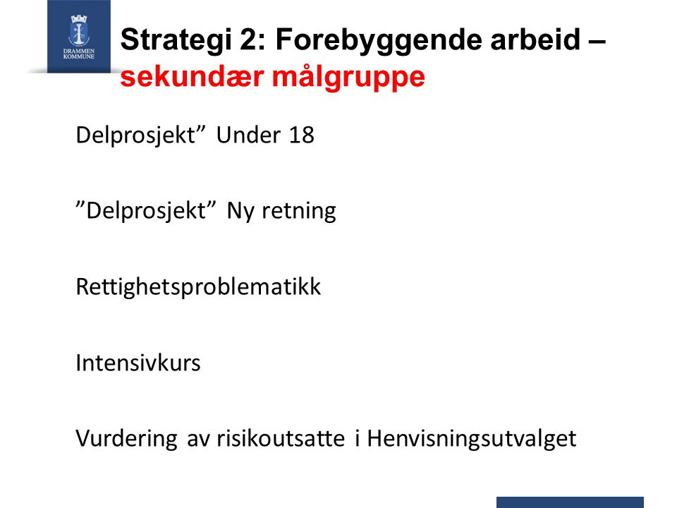"""Strategi 2: Forebyggende arbeid – sekundær målgruppe Delprosjekt"""" Under 18 """"Delprosjekt"""" Ny retning Rettighetsproblematikk Intensivkurs Vurdering av r"""