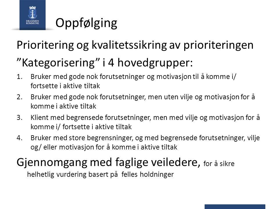 """Oppfølging Prioritering og kvalitetssikring av prioriteringen """"Kategorisering"""" i 4 hovedgrupper: 1.Bruker med gode nok forutsetninger og motivasjon ti"""