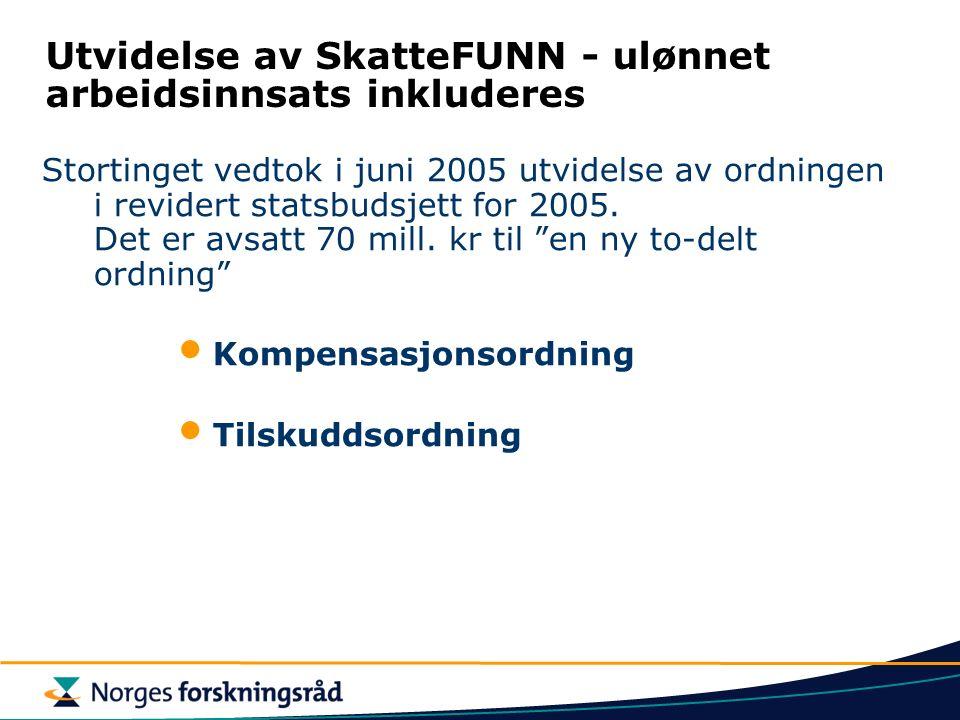 Utvidelse av SkatteFUNN - ulønnet arbeidsinnsats inkluderes Stortinget vedtok i juni 2005 utvidelse av ordningen i revidert statsbudsjett for 2005.