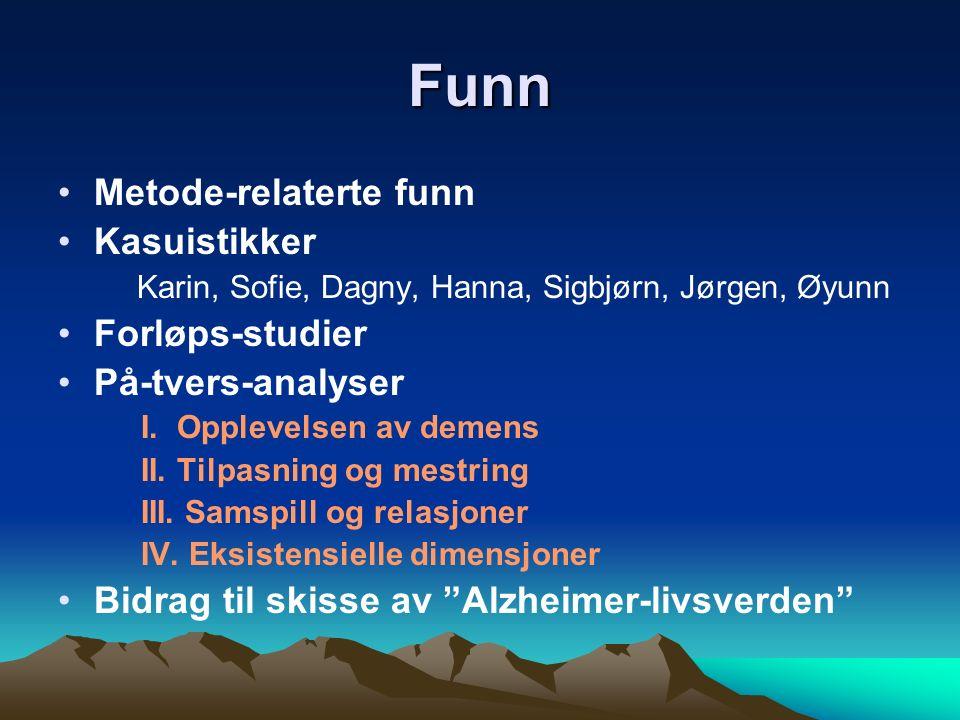 Funn Metode-relaterte funn Kasuistikker Karin, Sofie, Dagny, Hanna, Sigbjørn, Jørgen, Øyunn Forløps-studier På-tvers-analyser I.
