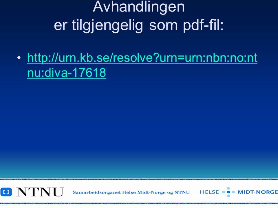 Avhandlingen er tilgjengelig som pdf-fil: http://urn.kb.se/resolve?urn=urn:nbn:no:nt nu:diva-17618http://urn.kb.se/resolve?urn=urn:nbn:no:nt nu:diva-17618