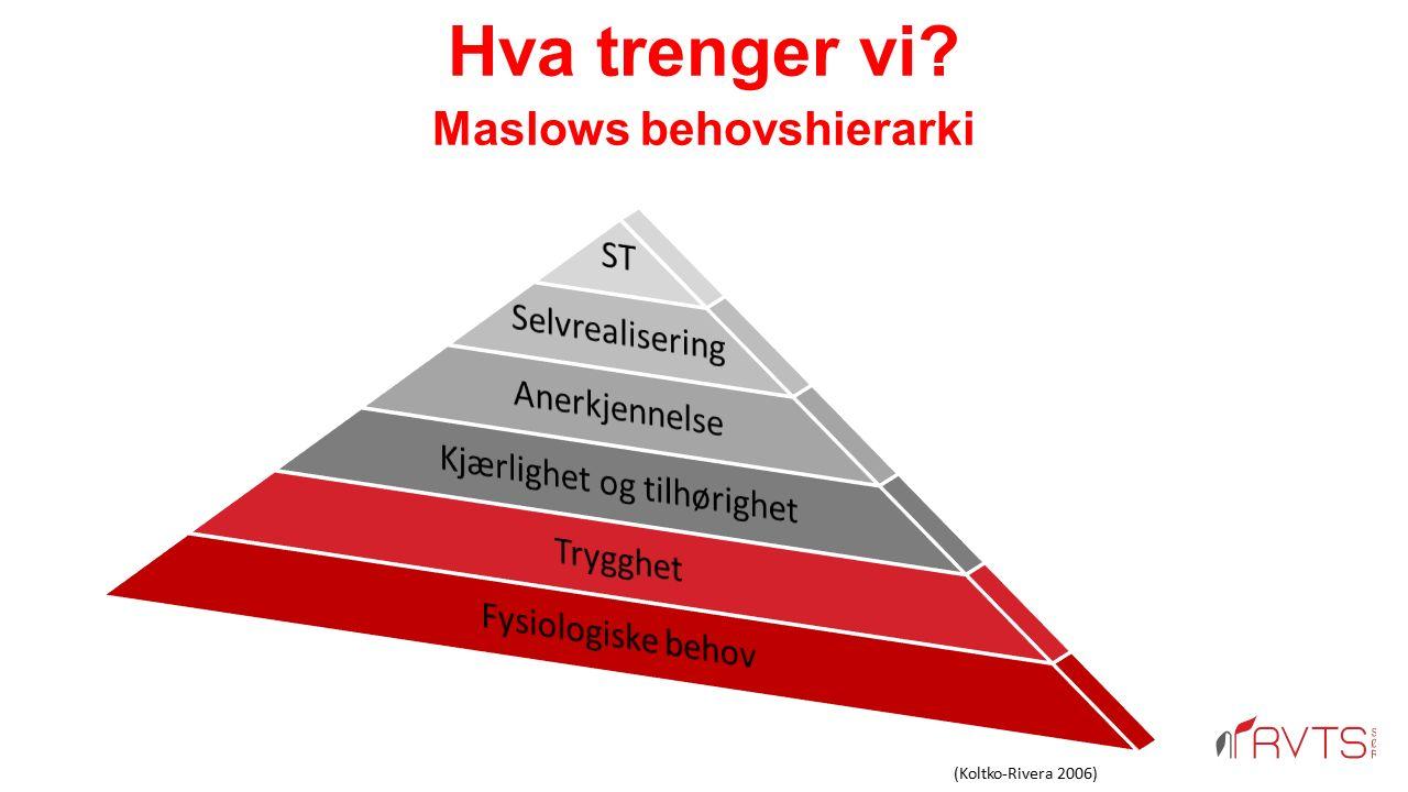 Hva trenger vi Maslows behovshierarki (Koltko-Rivera 2006)