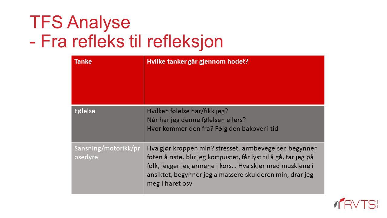 TFS Analyse - Fra refleks til refleksjon TankeHvilke tanker går gjennom hodet? FølelseHvilken følelse har/fikk jeg? Når har jeg denne følelsen ellers?