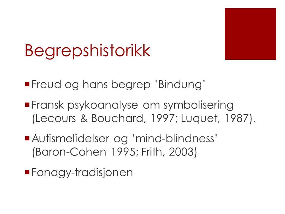 Begrepshistorikk  Freud og hans begrep 'Bindung'  Fransk psykoanalyse om symbolisering (Lecours & Bouchard, 1997; Luquet, 1987).  Autismelidelser o
