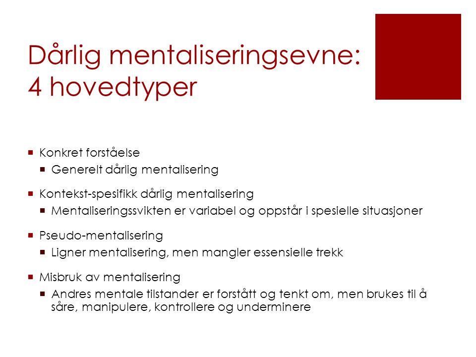 Dårlig mentaliseringsevne: 4 hovedtyper  Konkret forståelse  Generelt dårlig mentalisering  Kontekst-spesifikk dårlig mentalisering  Mentalisering