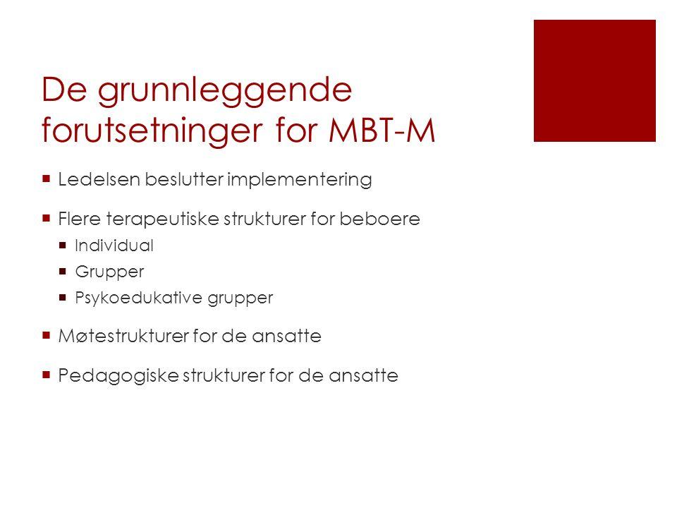 De grunnleggende forutsetninger for MBT-M  Ledelsen beslutter implementering  Flere terapeutiske strukturer for beboere  Individual  Grupper  Psykoedukative grupper  Møtestrukturer for de ansatte  Pedagogiske strukturer for de ansatte